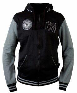 BK hoodie Varsity zipper blackgrey front 1 1024x1024