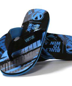 virtue flip flops graphic blue